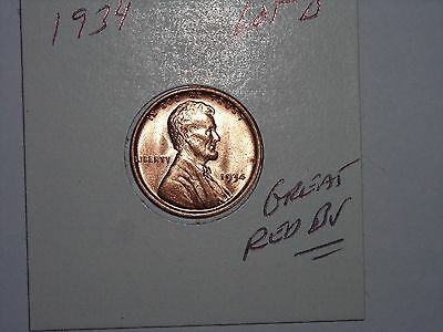 wheat penny 1934 LINCOLN CENT SHARP GEM RED BU 1934-P NICE UNC RED LUSTER LOT #B