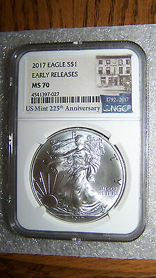 2017 1oz Silver Eagle NGC MS70 Early Releases Mint 225th Anniversary Label