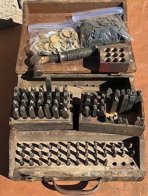 Antique Metal Steel Stamping Dies Letter Number Punch Stamps Wood Boxes