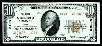 Sumner IA $10 1929 Ty.2 The First NB Ch. # 8198 BRIGHT & CRISP  HIGH GRADE