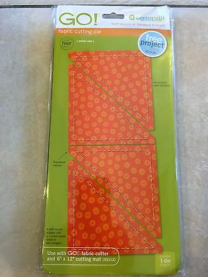 """Accuquilt GO! Fabric Cuting Die - """"Half Square"""" 4"""" Finished Triangle 55031 NEW"""