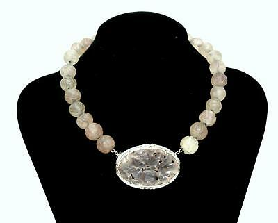 Fine Carved Chinese Sterling Silver Quartz  Bead Necklace