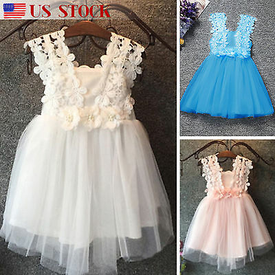 Girl Kids Summer Princess Lace Dress Kids Baby Party Wedding Pageant Formal Tutu