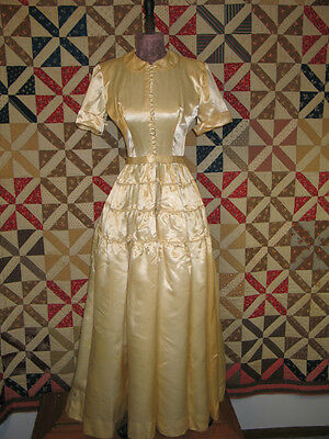 Classic Antique Vintage 1940s Liquid Satin Wedding Dress-Full Rushed Skirt
