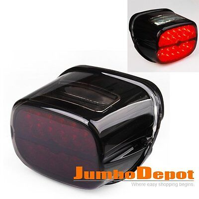 AU Smoke Integrated LED Tail Light License Plate For Harley Softail Dyna Glide