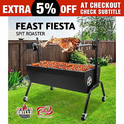 GRILLZ Electric Spit Roaster Rotisserie Charcoal BBQ Grill Camping 230V