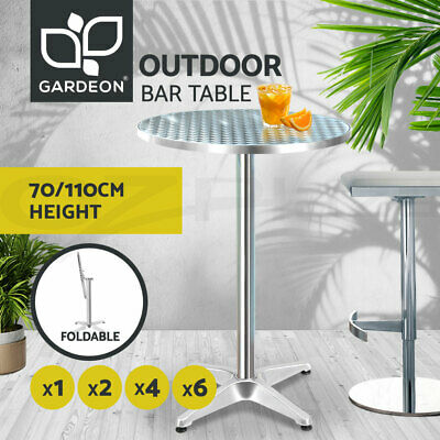 Gardeon Outdoor Bar Table Aluminium Furniture Adjustable Indoor Cafe Pub Round