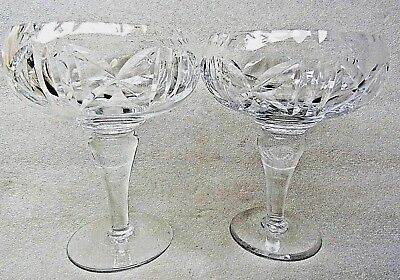 PAIR (2) CUT CRYSTAL SWEET / ENTREE PEDESTAL  BOWLS Perfect