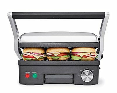 BELLA 4-in-1 Contact Grill Griddle and Panini Maker Combo SS and Black 14464