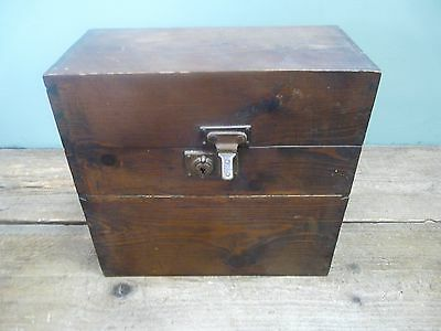 Unusual vintage wooden box with compartment & rods 28cm tall