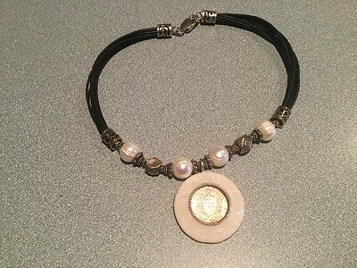 Fanatastic  Sterling Silver  Leather Cord  Mother Pearl Bezel  Silver  Coin
