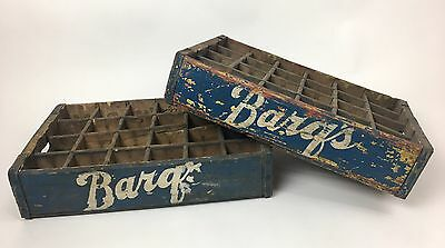 2 Vintage Barqs Root Beer Wood Carrier Crate 24 Pack 7-Up Pepsi Coca Cola Rare