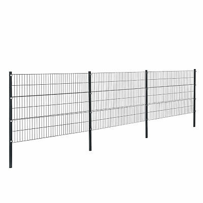 [pro.tec] Fence 6x1,2m Grey Double Rod Fence Set Grid Meshes Metal Fence