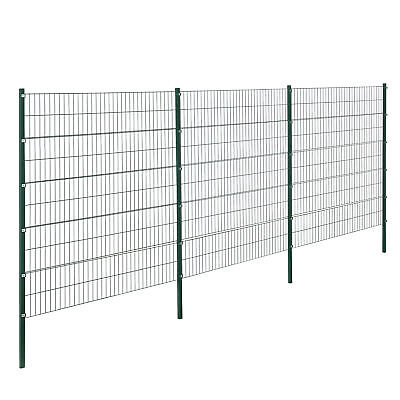 [pro.tec] Fence 6x2M Green Double Rod Fence Set Wire Metal Fence