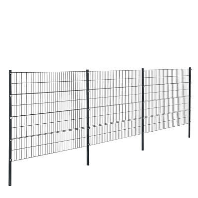 [pro.tec] Fence 6x1,6m Grey Double Rod Fence Set Grid Meshes Metal Fence