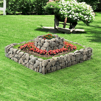 [pro.tec] Gabions Set of 2 Raised bed Stone Baskets Flower Wire