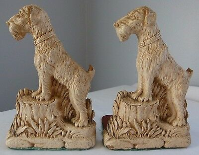 Vintage FOX TERRIER DOG BOOKENDS Syroco Wood ADORABLE!