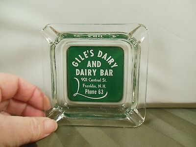 Vtg Glass GILE'S DAIRY AND DAIRY BAR Ashtray