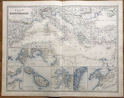 1861 Large Antique Map - BASIN & PORTS OF THE MEDITERRANEAN - A.K. Johnston