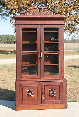 Solid Walnut Victorian Stepback Bookcase w Carved Crown Orig.Glass & Keys c1870