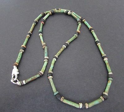 NILE  Ancient Egyptian Glass Mosaic Amulet Mummy Bead Necklace ca 600 BC
