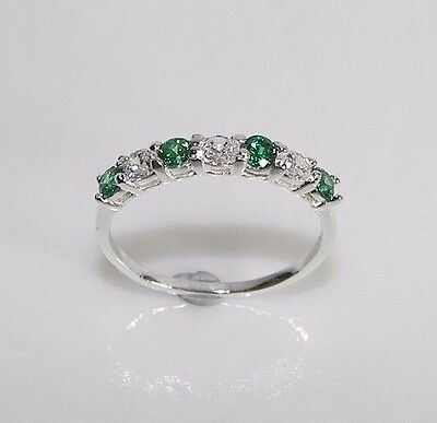size L Created Diamond Emerald Half Eternity Ring 925 Sterling Silver Gift Boxed