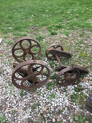 Vintage Old Industrial Antique Factory Cart Coffee Table Iron Metal Wheels