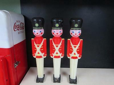 Lot of 3 Vintage 1950's Toy Soldiers Christmas Hard Plastic Lighted BlowMold 31""