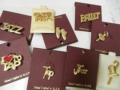 New/card Goldtone Push Tac Pin Dance Theme Ballet Pointe Tap Jazz Dancer Gift