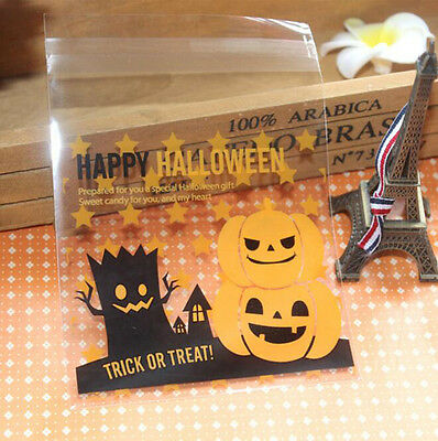 Halloween Party Biscuit Cake Bake Wrapping Gift Pumpkin Candy Plastic Bags DIY
