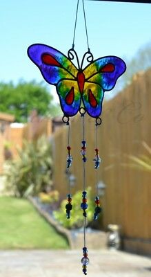Stained Glass Purple Butterfly Hanging Sun Catcher Home Window Mobile Decoration