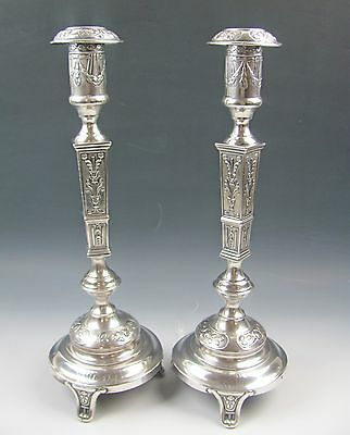 Pair of 800 Silver Shabbat Candlestick Holders Ornate Judaica Monogrammed