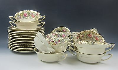 Set of 14 Bavarian China Floral Chintz Cream Soup Bowls w/Saucers