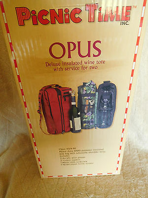 Opus Deluxe Insulated Wine Tote With Service For Two  Picnic Time ~Free Shipping