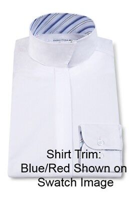 RJ Classics Girls Essential Collection White Show Shirt with Blue/Red Stripe Tri
