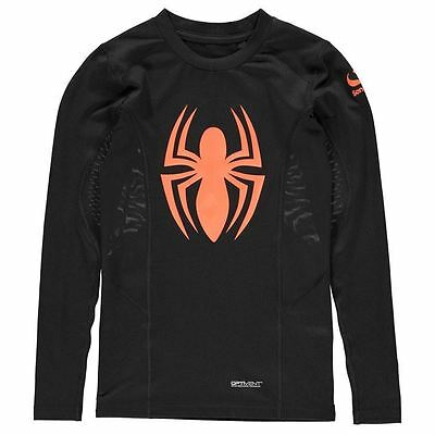 Marvel Kids Baselayer Top Junior Boys Elastic Training Sports Long Sleeve