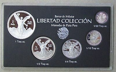 1994 Mexico Silver Libertad 5-Coin Proof Set In Mint Case & Coa