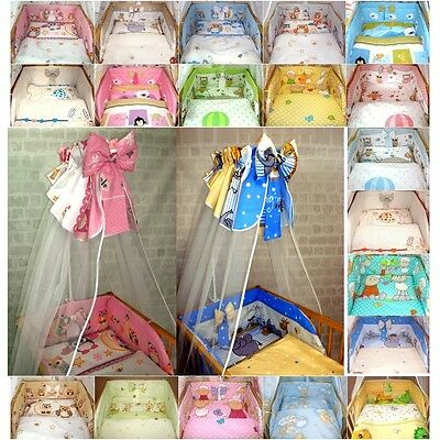 6 piece - Baby Bedding Set + Canopy Drape + Bumper for Cot 120x90 Bed 135x100cm