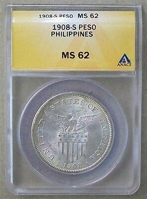 1908-S Philippines Peso Usa San Francisco Mint Silver Coin Anacs Ms62