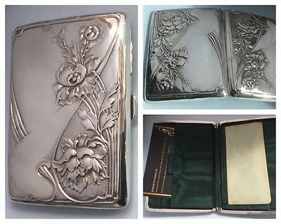 A Stylish 'art Nouveau' Edwardian Silver 'card Case/aide Memoire' Hm B'ham 1904