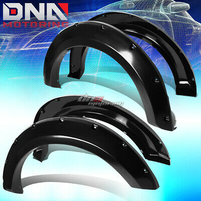 For 04-08 Ford F150 Truck Fender Wheel Flares Kit Pocket Rivet Black Abs Plastic