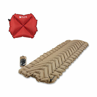 Klymit Static V Recon Inflatable Sleeping Pad, Sand + Inflatable Pillow, Red