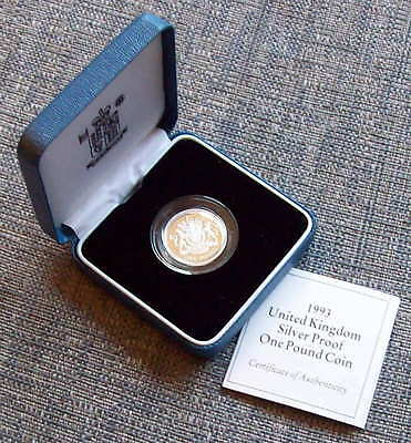 1993 silver proof One Pound coin, cased with COA