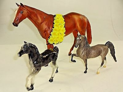 VTG - 1980's 3 Horse Lot - Breyer Imperial + - Large and Medium - Brown Black