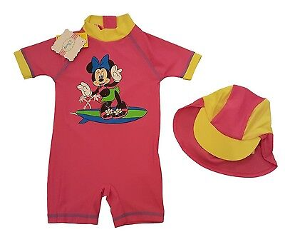 Baby Girls Sunsafe Swimsuit Swimming Costume Swimwear with Sun Hat MINNIE MOUSE