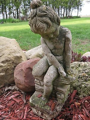 Vintage Antique Cement Concrete Old Statue Little Girl Cherub On Wall Ornament
