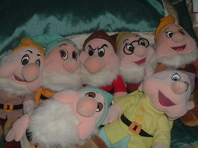 Disney Store Snow White & The Seven Dwarfs Set Of 7 Dwarfs Plush Soft Toys (B)