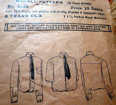 LOVELY VTG 1920s BOYS SHIRT McCALL Sewing Pattern 8 YEARS