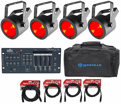(4) Chauvet DJ Core Par 40 USB Par Lights+Bag+Obey 4 D-Fi 2.4 Controller+Cables