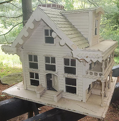 Antique Hand Made Folk Art Miniature Victorian House Stained Glass Gingerbread